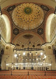 20101213 Suleymaniye Mosque Istanbul inside vertical Panorama