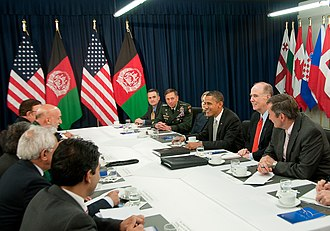 2010 Lisbon summit - President of the United States Barack Obama meeting with President of Afghanistan Hamid Karzai.