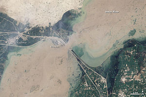 2010 Pakistan flood Khewali by Landsat-5 2010-...