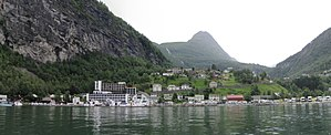 Geirangerfjord - Image: 2011 08 05 17.20.51 Geiranger fjord from the water (panorama 3x)
