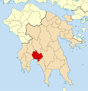 English: Locator map for Kalamata municipality...