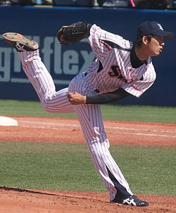 20130407 Ryousuke Yagi, pitcher of the Tokyo Yakult Swallows, at Meiji Jingu Stadium.JPG