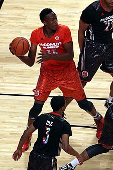 20140402 MCDAAG Myles Turner makes an outlet pass.JPG