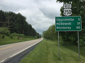 U.S. Route 250 in Virginia - View west along US 250 between Staunton and Churchville