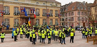 Yellow vests movement - A Gilets jaunes protest in Belfort, France on 29 December 2018