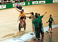 231000 - Cycling track Darren Harry Paul Clohessy high five 2 - 3b - 2000 Sydney race photo.jpg