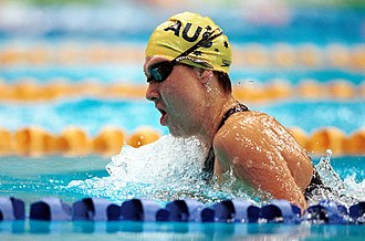 Alicia Aberley - Action shot of Aberley doing breaststroke at the 2000 Summer Paralympics