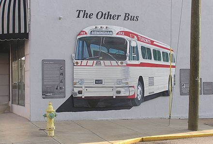 Violence at the Anniston Trailways Terminal, at 901 Noble St., is commemorated with a mural (2012 photo) 249 The Other Bus.jpg