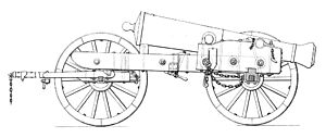 Siege artillery in the American Civil War - Model 1839 siege gun in travelling position, with limber.