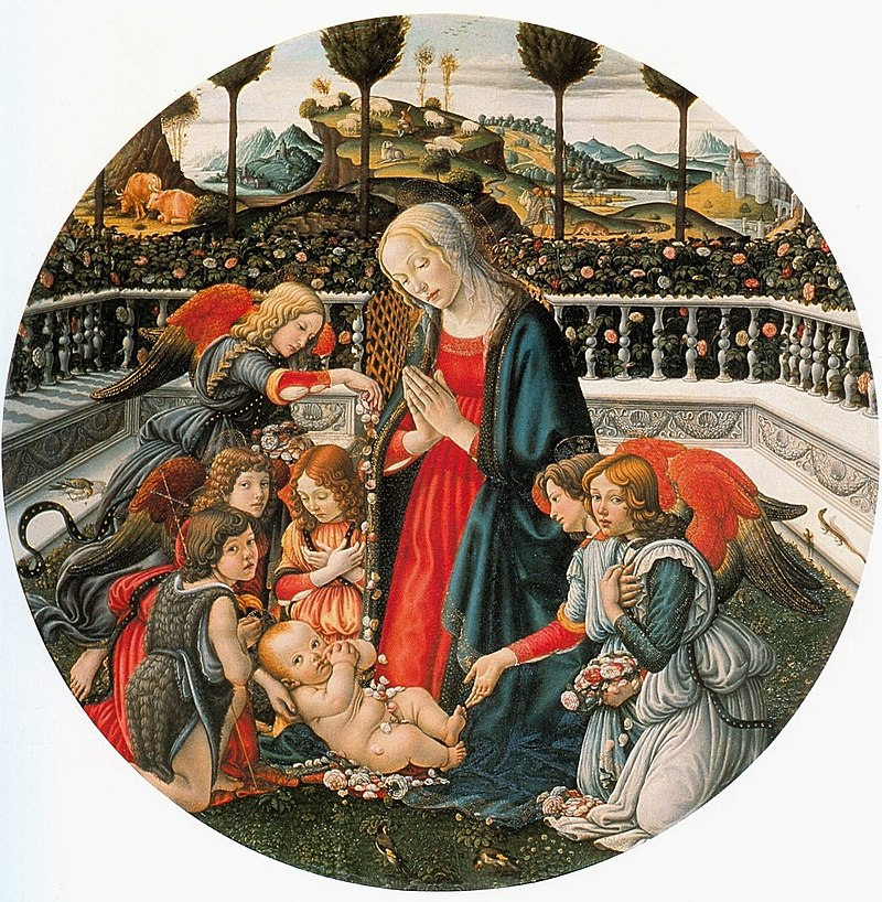 25 Francesco Botticini Madonna in adorazione del Bambino con san Giovannino e angeli. 123cm, ca. 1485 Palazzo Pitti, Florence.jpg