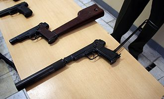 Machine pistol - The Russian Stechkin APS and suppressed APB select-fire machine pistols introduced into Russian service in 1951.