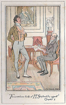 Colour illustration: A young lawyer stands at the left with a conceited air, Sir Walter sits at a desk.