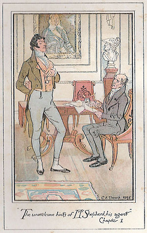 Persuasion - Persuasion, novel by Jane Austen. Illustrated by C. E. Brock for Sir Walter Elliot, baronet, the hints of Mr Shepherd, his agent, were quite unwelcome