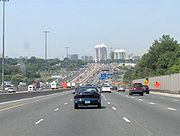 Ontario Highway 401 in Toronto, Ontario: An example of an urban freeway with an express-collector setup