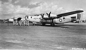 "50th Education Squadron -  ""Bolivar Jr"" B-24M-20-CO Liberator s/n 44-42151 431st BS, 11th BG, 7th AF Agana Airfield, Guam, Marianas Islands on 6 June 1945."