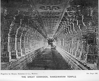 Ramanathaswamy Temple - A historic image of the temple corridor. The corridor is the longest for any Hindu temple in India