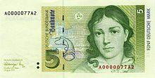 Bettina von Arnim auf dem 5-DM-Schein (Quelle: Wikimedia)