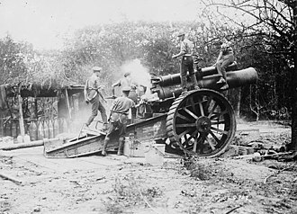 East Riding Royal Garrison Artillery - An 8-inch Howitzer in action, September 1916.