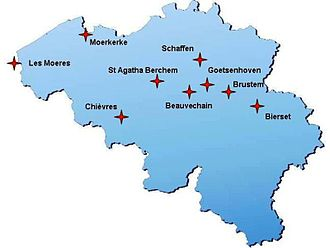 9 Squadron (Belgium) - A map of Belgium, locating the airfields on which 9th Squadron was stationed
