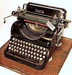 AEG typewriter with Cyrillic letters model 6 side view.jpg