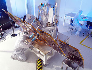 Aerospace manufacturer - NASA's AIM (Aeronomy of Ice in the Mesosphere) satellite, assembled in clean room