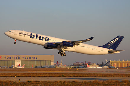 A now retired former Airblue Airbus A340-300 AIrBlue A340-300 AP-EDE IST 27-Nov-2012.jpg