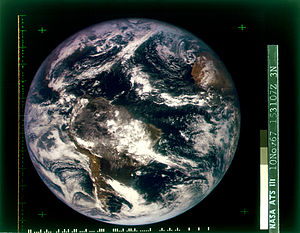 Psychedelics and ecology - First color photograph of the whole Earth (western Hemisphere), shot from the ATS-3 satellite on 10 November 1967