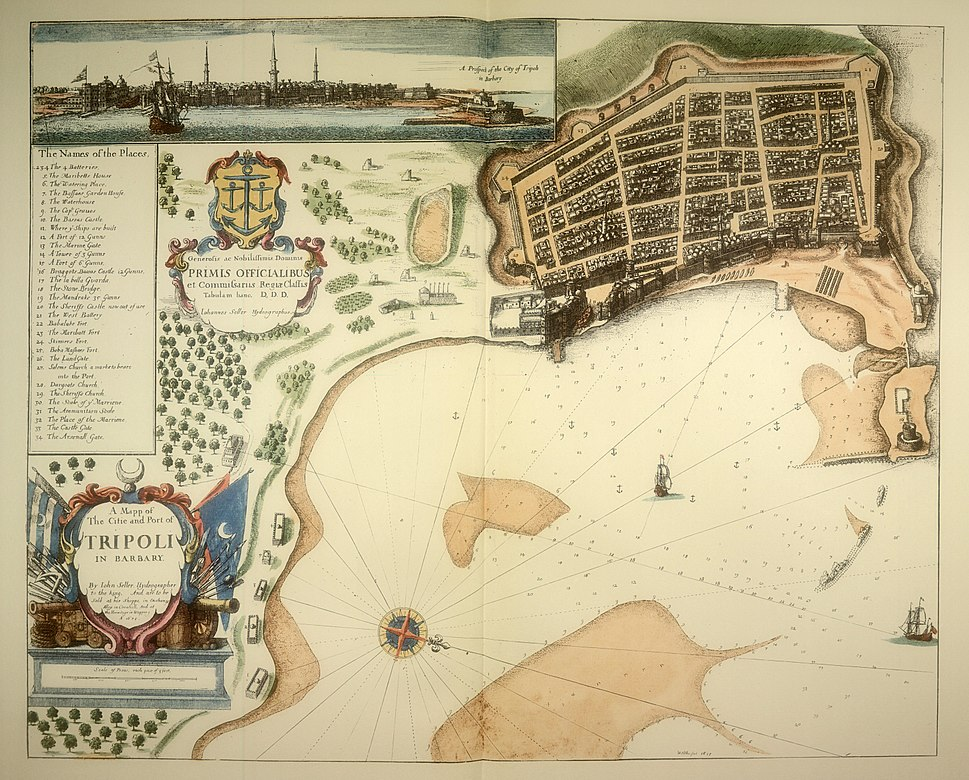 A Mapp of the Citie and Port of Tripoli in Barbary - by John Seller 1675