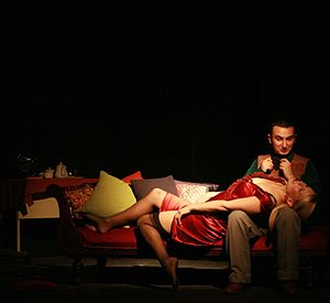 A Stab in the Dark (play) - A scene from the 2008 production, featuring Isabella Virtue (Tanya Kaploon) and Myles Fletcher (Andrew Crupi)