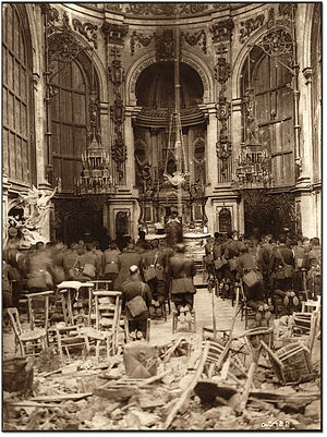 Thanksgiving (Canada) - Canadian troops attend a Thanksgiving service in the bombed-out Cambrai Cathedral, in France in October 1918