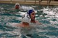 A U.S. Marine with the 1st Reconnaissance Battalion guards against a Navy corpsman during the water polo tournament at Al Asad Air Base, Iraq, March 15, 2009 090315-M-KL291-024.jpg
