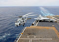 A U.S. Navy MH-60R Seahawk helicopter assigned to Helicopter Maritime Strike Squadron (HSM) 78 takes off from the flight deck of the aircraft carrier USS Ronald Reagan (CVN 76) in the Pacific Ocean during flight 130504-N-SS432-207.jpg
