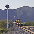 A Union Pacific eastbound approaches the west end of Shawmut siding. (16558194221).jpg
