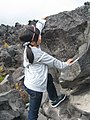 A girl climbing the rocks in Mount Asama, Gunma, Japan; October 2011.jpg