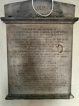 Colin Campbell (British Army officer, born 1776) - A memorial to Colin Campbell in St James's Church, Piccadilly.
