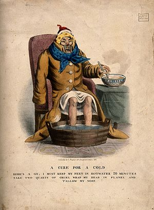 A sick man with a cold. Coloured lithograph, 1833. Wellcome V0011172.jpg