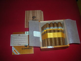 Cohiba (cigar brand) - A slide lid cabinet box of Cohiba Robustos