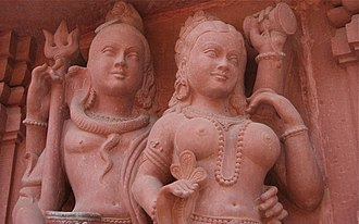 Kashmir Shaivism - A stone carving of Shiva and Parvati, associated with Shakti.
