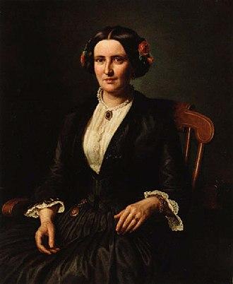 Aasta Hansteen - Woman with rose in her hair   painted by Aasta Hansteen (1853)