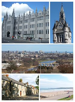 Clockwise from top-left: Marischal College, West Tower of the new Town House on Union Street, River Don view from Tollohill Woods, Old Aberdeen High Street, Aberdeen Beach