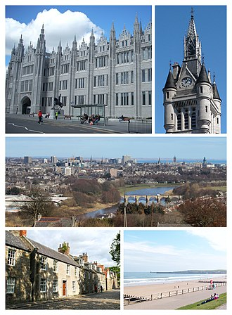Aberdeen - Clockwise from top-left: Marischal College, West Tower of the new Town House on Union Street, River Don view from Tollohill Woods, Old Aberdeen High Street, Aberdeen Beach