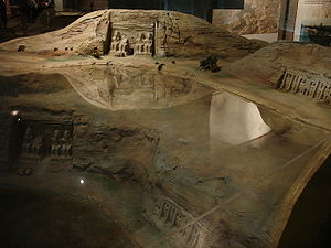 Abu Simbel temples - A scale model showing the original and current location of the temple (with respect to the water level) at the Nubian Museum, in Aswan