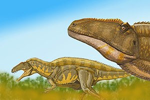 Acrocanthosaurus - Artist's impression of a pair of acrocanthosaurs on the move.