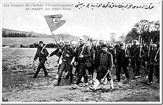 Ottoman countercoup of 1909 - Image: Action Army marching on Makri Keuy