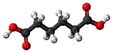 Ball-and-stick model of the adipic acid molecule
