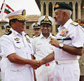 Admiral DK Joshi receiving Vice Admiral Thura Thet Swe at South Block.jpg
