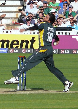 Shahid Afridi - Afridi bowling his stock leg-spin delivery