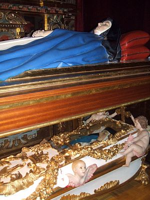 Mary of Jesus of Ágreda - Lying below the blue recumbent statue is the incorrupt body of the Venerable María de Jesús de Ágreda in the Church of the Conceptionists Convent in Ágreda, Spain.