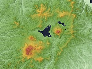 Akan Volcanic Complex - Akan Caldera Me-Akan (bottom left) O-Akan (center right)