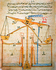 Diagram of a water device from a book by Al-Jazari.